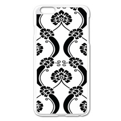 Flower Floral Black Sexy Star Black Apple Iphone 6 Plus/6s Plus Enamel White Case by Mariart
