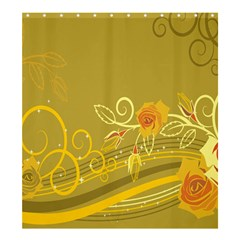 Flower Floral Yellow Sunflower Star Leaf Line Gold Shower Curtain 66  X 72  (large)  by Mariart
