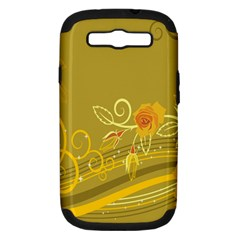 Flower Floral Yellow Sunflower Star Leaf Line Gold Samsung Galaxy S Iii Hardshell Case (pc+silicone) by Mariart