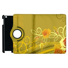 Flower Floral Yellow Sunflower Star Leaf Line Gold Apple Ipad 2 Flip 360 Case by Mariart