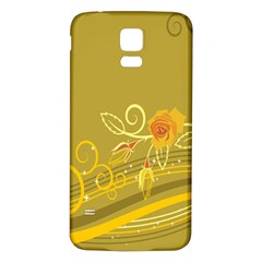 Flower Floral Yellow Sunflower Star Leaf Line Gold Samsung Galaxy S5 Back Case (white) by Mariart