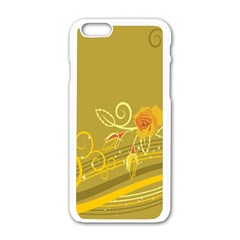 Flower Floral Yellow Sunflower Star Leaf Line Gold Apple Iphone 6/6s White Enamel Case by Mariart