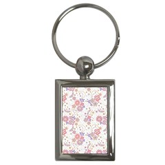 Flower Floral Sunflower Rose Purple Red Star Key Chains (rectangle)  by Mariart