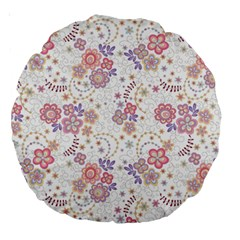 Flower Floral Sunflower Rose Purple Red Star Large 18  Premium Round Cushions by Mariart