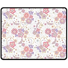 Flower Floral Sunflower Rose Purple Red Star Double Sided Fleece Blanket (medium)  by Mariart
