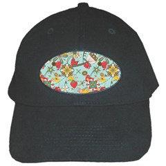 Flower Fruit Star Polka Rainbow Rose Black Cap by Mariart