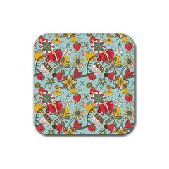 Flower Fruit Star Polka Rainbow Rose Rubber Square Coaster (4 Pack)  by Mariart