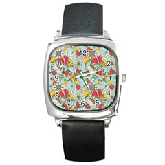 Flower Fruit Star Polka Rainbow Rose Square Metal Watch by Mariart