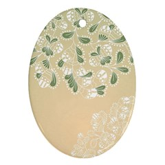 Flower Frame Green Sexy Ornament (oval) by Mariart