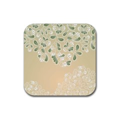 Flower Frame Green Sexy Rubber Square Coaster (4 Pack)  by Mariart