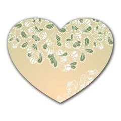 Flower Frame Green Sexy Heart Mousepads by Mariart