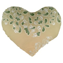 Flower Frame Green Sexy Large 19  Premium Heart Shape Cushions by Mariart