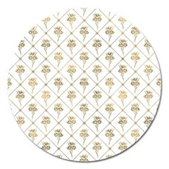 Flower Leaf Gold Magnet 5  (round) by Mariart