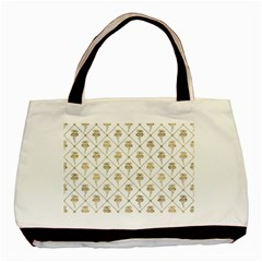 Flower Leaf Gold Basic Tote Bag (two Sides) by Mariart