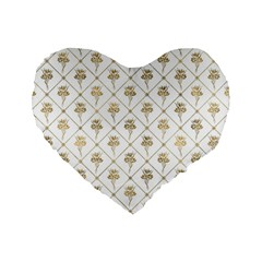 Flower Leaf Gold Standard 16  Premium Flano Heart Shape Cushions