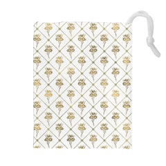 Flower Leaf Gold Drawstring Pouches (extra Large) by Mariart