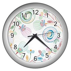 Flower Rainbow Circle Polka Leaf Sexy Wall Clocks (silver)  by Mariart