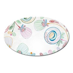 Flower Rainbow Circle Polka Leaf Sexy Oval Magnet by Mariart