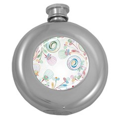 Flower Rainbow Circle Polka Leaf Sexy Round Hip Flask (5 Oz) by Mariart