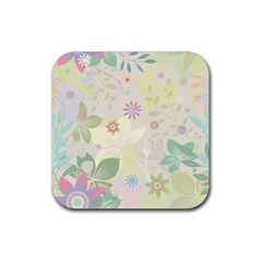 Flower Rainbow Star Floral Sexy Purple Green Yellow White Rose Rubber Square Coaster (4 Pack)  by Mariart