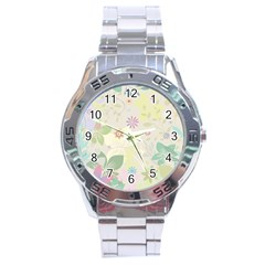 Flower Rainbow Star Floral Sexy Purple Green Yellow White Rose Stainless Steel Analogue Watch by Mariart