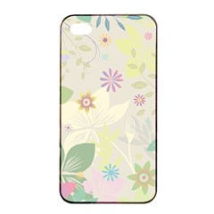 Flower Rainbow Star Floral Sexy Purple Green Yellow White Rose Apple Iphone 4/4s Seamless Case (black) by Mariart