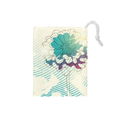 Flower Rose Purple Sunflower Lotus Drawstring Pouches (small)  by Mariart