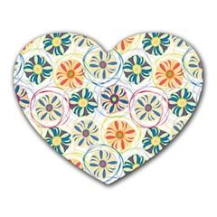 Flower Rainbow Fan Sunflower Circle Sexy Heart Mousepads by Mariart