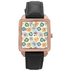 Flower Rainbow Fan Sunflower Circle Sexy Rose Gold Leather Watch  by Mariart