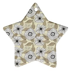 Flower Rose Sunflower Gray Star Ornament (star) by Mariart