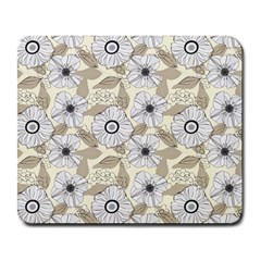 Flower Rose Sunflower Gray Star Large Mousepads by Mariart