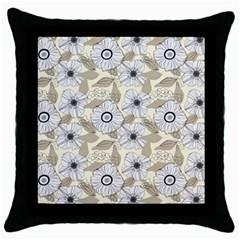 Flower Rose Sunflower Gray Star Throw Pillow Case (black)