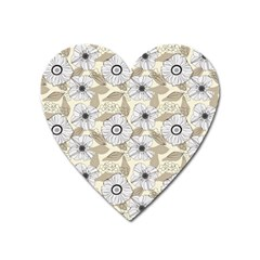 Flower Rose Sunflower Gray Star Heart Magnet by Mariart