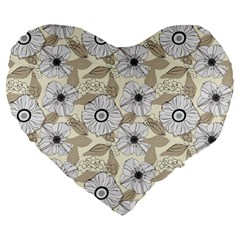 Flower Rose Sunflower Gray Star Large 19  Premium Heart Shape Cushions by Mariart