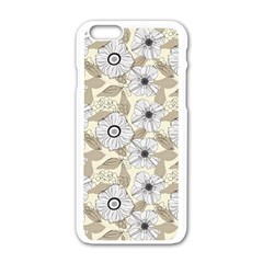 Flower Rose Sunflower Gray Star Apple Iphone 6/6s White Enamel Case by Mariart