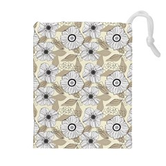 Flower Rose Sunflower Gray Star Drawstring Pouches (extra Large) by Mariart