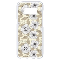 Flower Rose Sunflower Gray Star Samsung Galaxy S8 White Seamless Case by Mariart