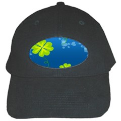 Flower Shamrock Green Blue Sexy Black Cap by Mariart