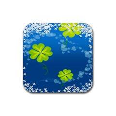 Flower Shamrock Green Blue Sexy Rubber Square Coaster (4 Pack)  by Mariart