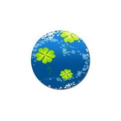 Flower Shamrock Green Blue Sexy Golf Ball Marker by Mariart