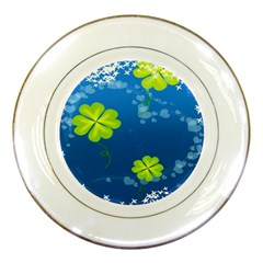 Flower Shamrock Green Blue Sexy Porcelain Plates by Mariart