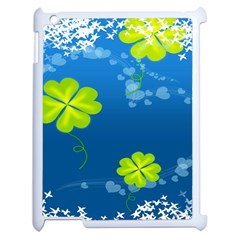 Flower Shamrock Green Blue Sexy Apple Ipad 2 Case (white) by Mariart