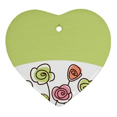 Flower Simple Green Rose Sunflower Sexy Ornament (heart) by Mariart