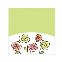 Flower Simple Green Rose Sunflower Sexy Small Satin Scarf (square) by Mariart