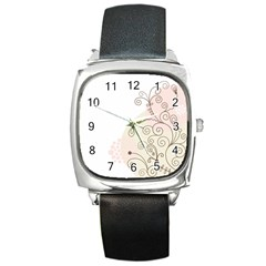 Flower Simple Pink Square Metal Watch by Mariart