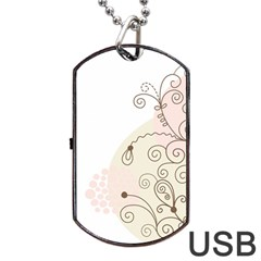 Flower Simple Pink Dog Tag Usb Flash (one Side) by Mariart