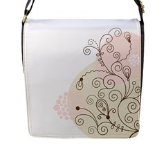 Flower Simple Pink Flap Messenger Bag (l)  by Mariart