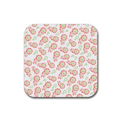 Flower Rose Red Green Sunflower Star Rubber Square Coaster (4 Pack)  by Mariart