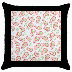 Flower Rose Red Green Sunflower Star Throw Pillow Case (black) by Mariart