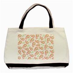 Flower Rose Red Green Sunflower Star Basic Tote Bag by Mariart